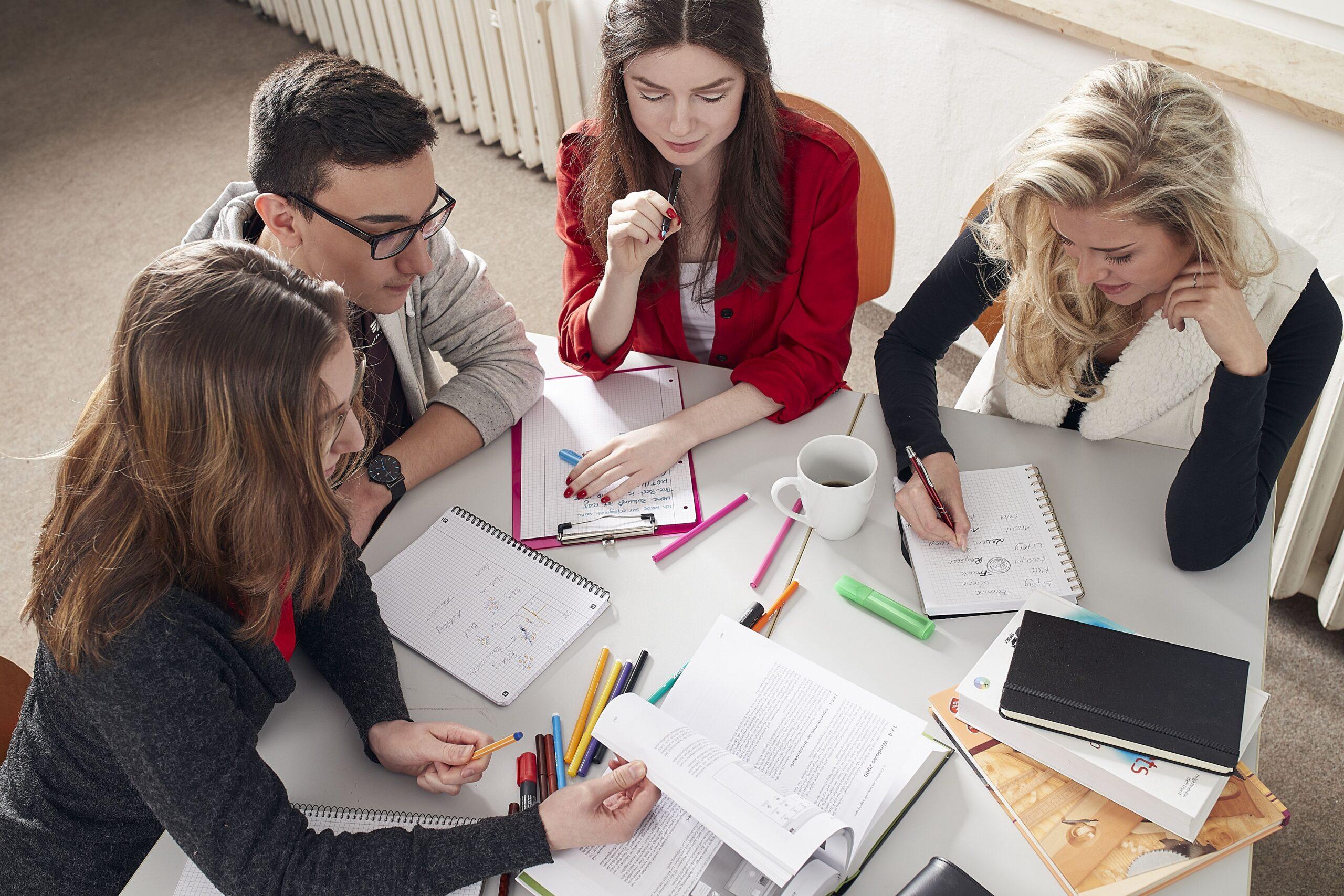 Schüler:innen, die in einer Arbeitsgruppe lernen